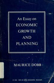 Cover of: An essay on economic growth and planning