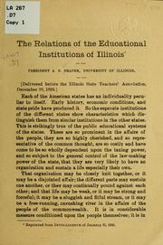 Cover of: The relations of the educational institutions of Illinois