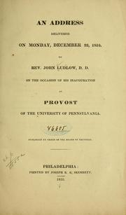 Cover of: An address delivered on Monday, December 22, 1834