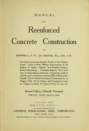 Cover of: Manual of reenforced concrete construction