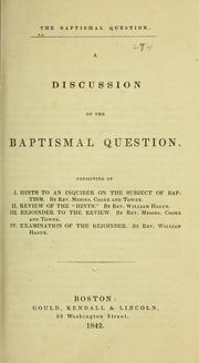 Cover of: The baptismal question