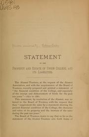 Cover of: Statement of the property and estate of Union College, and its liabilities