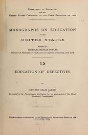 Cover of: Education of defectives