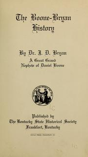 Cover of: The Boone-Bryan history