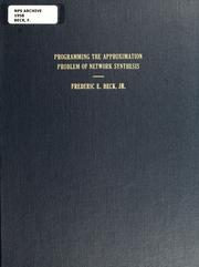 Cover of: Programming the approximation problem of network synthesis