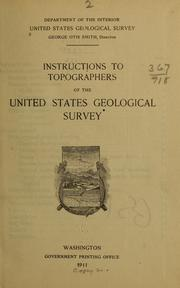 Cover of: Instructions to topographers of the United States geological survey
