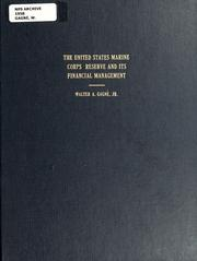 Cover of: The United States Marine Corps Reserve and its financial management
