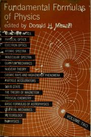 Cover of: Fundamental formulas of physics | Donald Howard Menzel