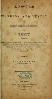 Cover of: A letter to the wardens and vestry of Christ church, Cincinnati