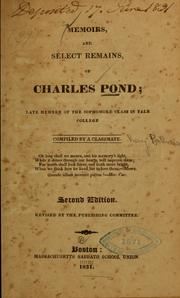 Cover of: Memoirs, and select remains, of Charles Pond