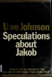 Cover of: Speculations about Jakob