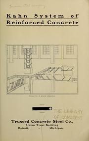 Cover of: Kahn system of reinforced concrete | Truscon steel company. [from old catalog]