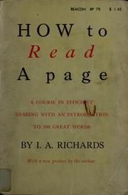Cover of: How to read a page: a course in efficient reading, with an introduction to a hundred great words