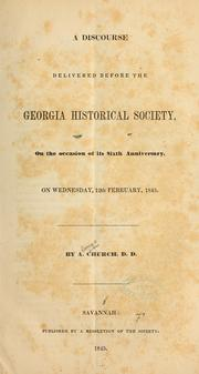 Cover of: A discourse delivered before the Georgia historical society...