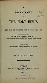 Cover of: A dictionary of the Holy Bible