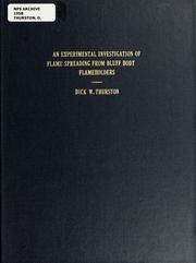 Cover of: An experimental investigation of flame spreading from bluff body flameholders