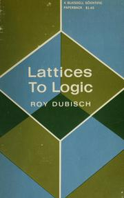 Cover of: Lattices to logic