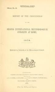Cover of: Report of proceedigs
