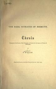 Cover of: The basic nitrates of bismuth | Francis Barclay Allan