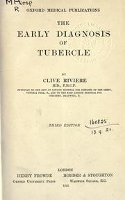 Cover of: The early diagnosis of tubercle