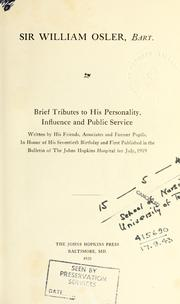 Cover of: Sir William Osler, bart