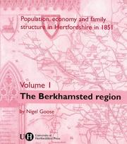 Cover of: Population, Economy and Family Structure in Hertfordshire in 1851: Volume 1