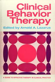 Cover of: Clinical behavior therapy