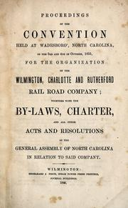 Cover of: Proceedings of the convention held at Wadesboro', North Carolina