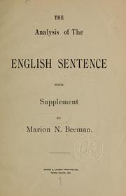 Cover of: The analysis of the English sentence