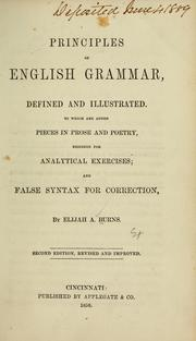 Cover of: Principles of English grammar