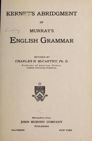 Cover of: Kerney's abridgment of Murray's English grammar