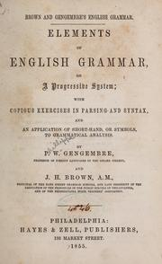 Cover of: Brown and Gengembre's English grammar