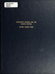 Cover of: Investment criteria for the Marine Officer