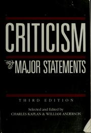 Cover of: Criticism