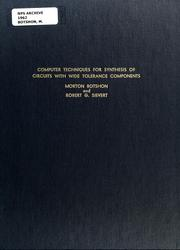 Cover of: Computer techniques for synthesis of circuits with wide tolerance components