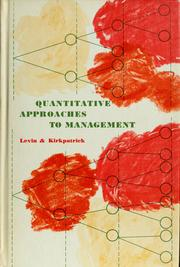 Cover of: Quantitative approaches to management | Richard I. Levin