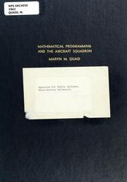 Cover of: Mathematical programming and the aircraft squadron
