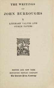 Cover of: Literary values and other papers