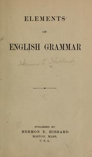 Cover of: Elements of English grammar