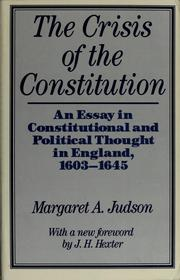 Cover of: The crisis of the constitution | Margaret Atwood Judson