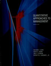 Cover of: Quantitative Approaches to Management
