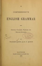 Cover of: A comprehensive English grammar