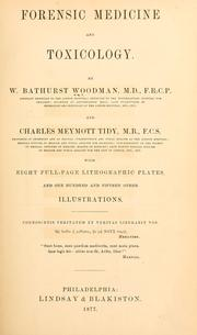 Cover of: Forensic medicine and toxicology by W. Bathurst Woodman