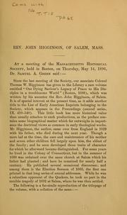 Cover of: Rev. John Higginson of Salem, Mass