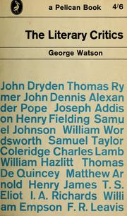 Cover of: The literary critics | Watson, George