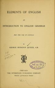 Cover of: Elements of English