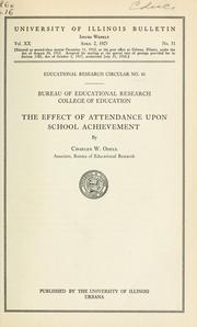 Cover of: The Effect of Attendance upon School Achievement