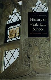 Cover of: History of the Yale Law School |