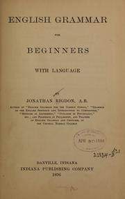 Cover of: English grammar for beginners with language