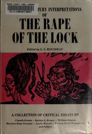 Cover of: Twentieth century interpretations of The rape of the lock | G. S. Rousseau